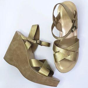 Kork-ease gold leather wedge platform sandals 9